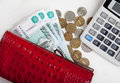 Purse with money and calculator Royalty Free Stock Photo