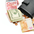 Purse and paper money Royalty Free Stock Photo