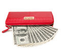 Purse red with dollars isolated on white Stock Images