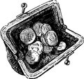 Purse vector drawing of an old with coins Royalty Free Stock Image
