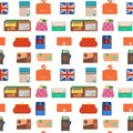 Purse wallet with money seamless pattern background shopping buy business financial payment bag and accessory trendy Royalty Free Stock Photo