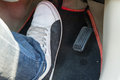 Push the brake pedal of the car Royalty Free Stock Photo