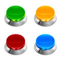 Push button a set of colorful buttons with chrome drama Stock Image