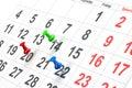 Push pin in calendar Royalty Free Stock Photo