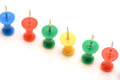 Push pins colorful on white background Royalty Free Stock Photography