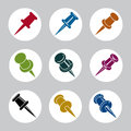 Push pins icons vector set, vector simplistic symbols Royalty Free Stock Photo