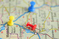Push pins on a map of south africa indicating the route to travel shallow depth of field Royalty Free Stock Photos