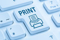Push print button printing printer blue computer keyboard Royalty Free Stock Photo