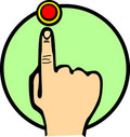Push the red button vector illustration Stock Photo