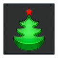 Pushed lighting button with indicator light as green New Year tree with red star Royalty Free Stock Photo