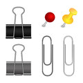 Pushpin, binder and paper clip set Royalty Free Stock Photo