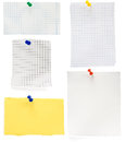 Pushpin and checked note paper Royalty Free Stock Images