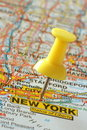 Pushpin in new york map Stock Photo