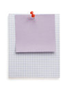 Pushpin and note paper on white Stock Image