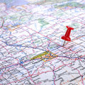 Pushpin in road map Royalty Free Stock Photo