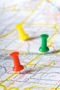 Pushpins on a map Royalty Free Stock Photo