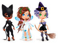 Pussy, Fairy and Witch. Royalty Free Stock Images