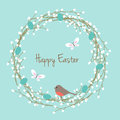 Pussy willow easter wreath with robin