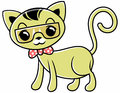 Pussycat vector cartoon wearing glasses and tie Royalty Free Stock Photo