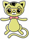 Pussycat vector cartoon wearing glasses and tie Royalty Free Stock Photography