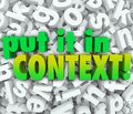 Put it in context words d letters message understanding clarity to illustrate the need to clarify a and bring and Royalty Free Stock Images