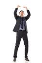 Put hands up against something asian business full length portrait isolated on white background Royalty Free Stock Photography