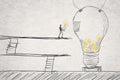 Put small ideas into big one concept of idea creation hard work etc Stock Photos