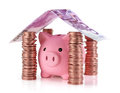 Put your savings safe isolated piggybank in the home of for real estate project Royalty Free Stock Photo