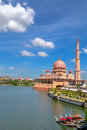 Putra mosque the or masjid in malay language is the principal of putrajaya malaysia construction of the began Stock Images