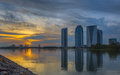 Putrajaya cityscape sunset iii modern buildings by lake malaysia at Stock Image