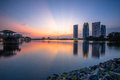 Putrajaya landscape stock photo beautiful sunset at one of the famous lake in with modern building in the background Royalty Free Stock Images