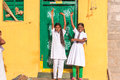 PUTTAPARTHI, ANDHRA PRADESH, INDIA - JULY 9, 2017: Cheerful Indian schoolgirls. Copy space for text. Royalty Free Stock Photo