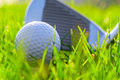 Putter and golf ball before impact Royalty Free Stock Image