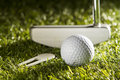 Putter on green close up horizontal shot of golf ball and divot tool grass Royalty Free Stock Photography