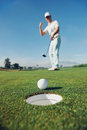 Putting golf man Royalty Free Stock Photo