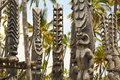 Puuhonua o honaunau city of refuge national park hawaii carved tiki gods at the big island Stock Photo