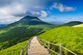Puy de Dome mountain and Auvergne landscape during the morning Royalty Free Stock Photo