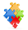 Puzzle 3d  on white. Team concept Royalty Free Stock Image