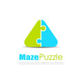 Puzzle abstract vector logo