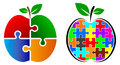 Puzzle apple logo Royalty Free Stock Photo