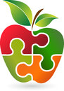 Puzzle apple logo illustration art of a with background Stock Image