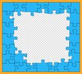 Puzzle, blue mosaic with dark outline, incomplete, flat style. Jigsaw pieces. Details unfold. Business concept. Vector pattern,