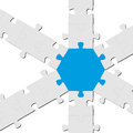 Puzzle connection teamwork symbolism with one blue part Royalty Free Stock Photo