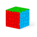 Puzzle cube colorful made of elements illustration on white background Stock Photos