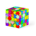 Puzzle cube made of colorful elements illustration on white background Stock Photography