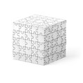Puzzle cube made of white elements illustration on white background Stock Photography