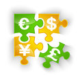 Puzzle currency pieces with shadow isolated Royalty Free Stock Photography