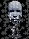 Puzzle falling mask composition piece Royalty Free Stock Images