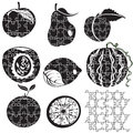 Puzzle fruits illustration of different fruit silhouettes made as puzzles Royalty Free Stock Images