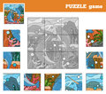 Puzzle Game for children with animals (narwhals sea world) Royalty Free Stock Photo